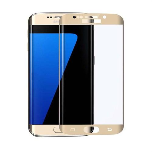 İdealtrend Samsung S7 Edge 3D Kavisli 9H Temperli Cam Ekran Koruyucu Altın