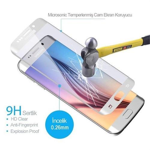 İdealtrend Samsung S6 Edge Plus 3D Kavisli 9H Temperli Cam Ekran Koruyucu Beyaz