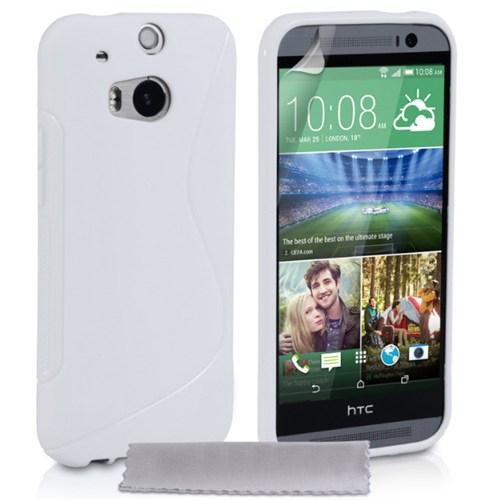 Coverzone Htc One M8 Kılıf Silikon S-Line Beyaz