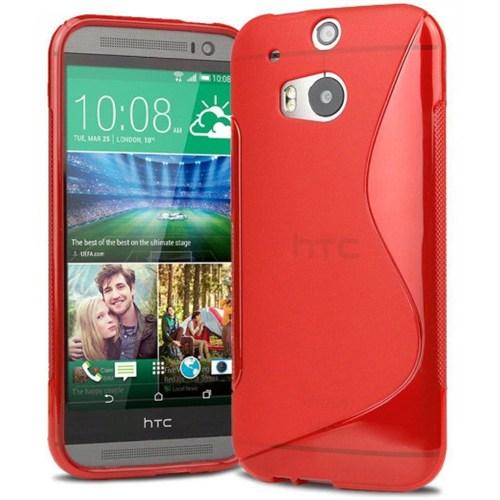 Coverzone Htc One M8 Kılıf Silikon S-Line Kırmızı
