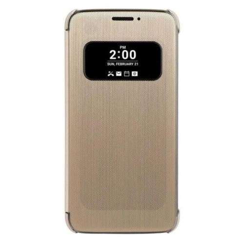 Coverzone Lg G5 Kılıf Quick Akıllı Flip Cover Gold