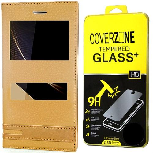 Coverzone Turkcell T70 Kılıf Elite Deri Kapaklı Gold + Kırılmaz Cam