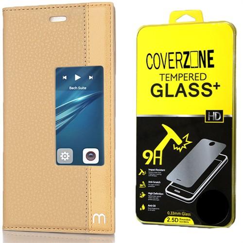 Coverzone Huawei P9 Kılıf Elite Pencereli Standlı Gold + Kırılmaz Cam