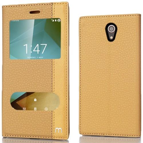 Coverzone Vodafone Smart 7 Kılıf Elite Pencereli Standlı Gold