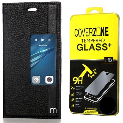 Huawei P9 Kılıf Elite Pencereli Standlı Siyah + Kırılmaz Cam