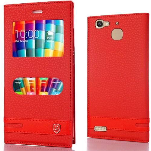 Huawei Gr3 Kılıf Çift Pencereli Elite Deri Kırmızı