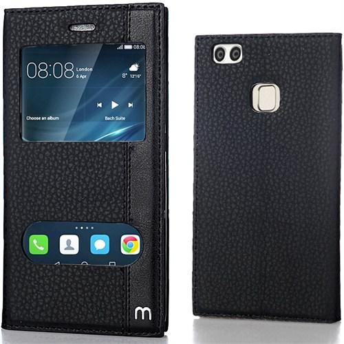 Huawei P9 Lite Kılıf Elite Pencereli Standlı Siyah