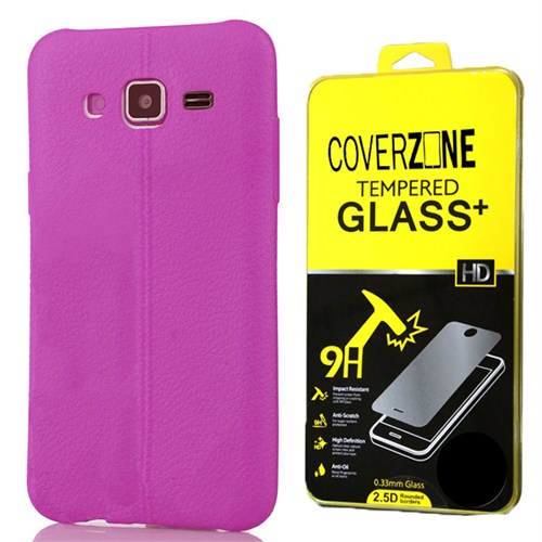 Coverzone Samsung Galaxy J3 Kılıf Silikon Deri Style Mor + Kırılmaz Cam