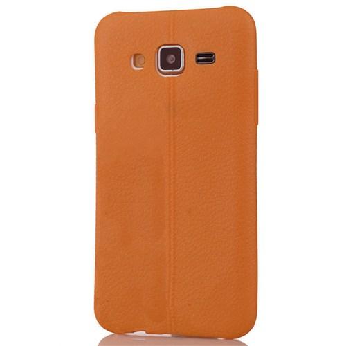 Coverzone Samsung Galaxy J3 Kılıf Silikon Deri Style Kahverengi