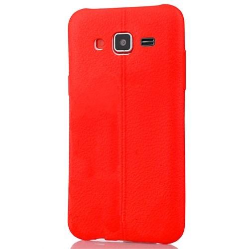 Coverzone Samsung Galaxy J3 Kılıf Silikon Deri Style Kırmızı