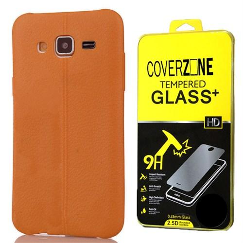 Coverzone Samsung Galaxy J3 Kılıf Silikon Deri Style Kahverengi + Kırılmaz Cam