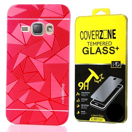 Coverzone Samsung Galaxy J2 Kılıf Metalize Arka Kapak Kırmızı + Kırılmaz Cam