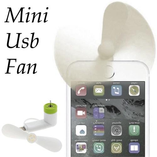 Coverzone Mini Usb Fan Telefon Tablet 2İn1 Usb İos Android Beyaz