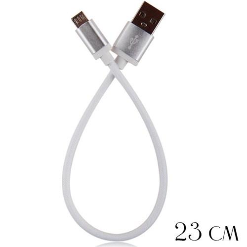 Coverzone Mico Usb Data Şarj Kısa Kablo 22Cm Beyaz
