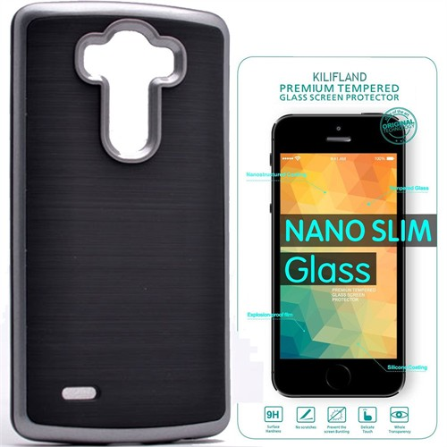 Exclusive Phone Case Lg G3 Kılıf Infinity Koyu Gümüş+Tempered Glass