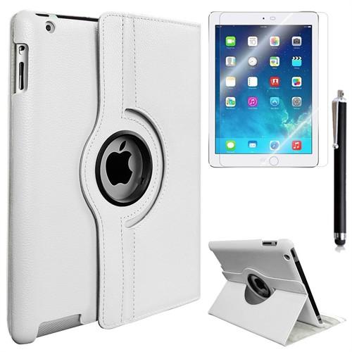 Kılıfland Apple İpad 4 Retina Kılıf 360 Standlı Beyaz+Film+Kalem