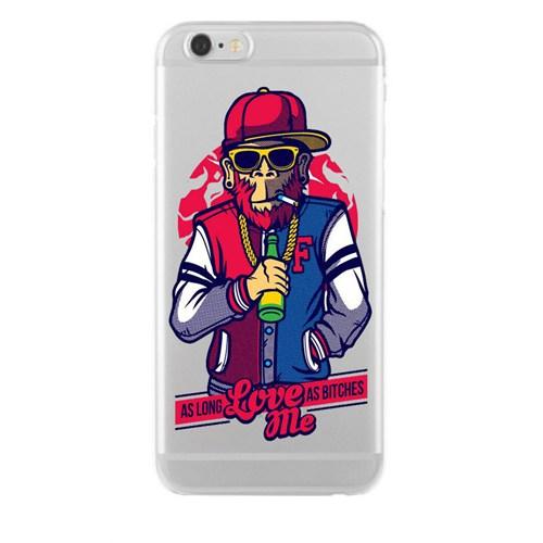 Remeto Samsung Galaxy Note 2 Transparan Silikon Resimli Harlemli Rapçi Maymun