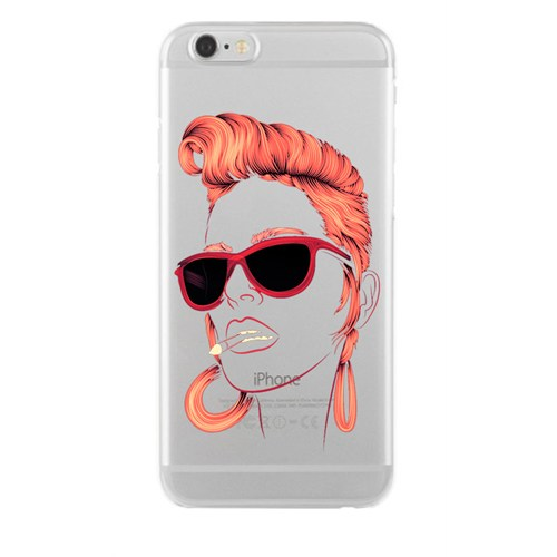 Remeto Samsung Galaxy Note 2 Kızıl Rock'n Roll Kızı Transparan Silikon Resimli Kılıf