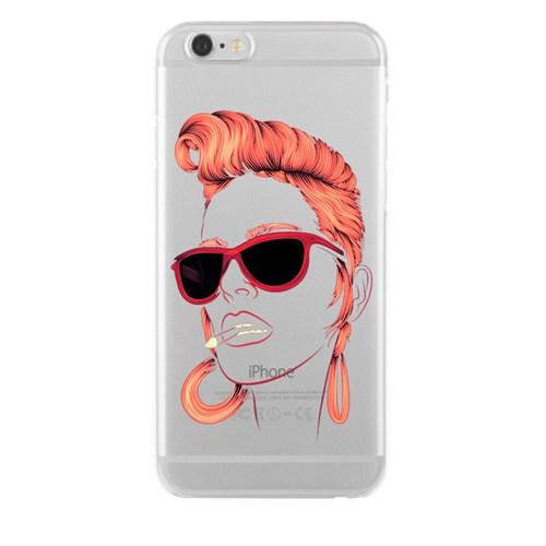 Remeto Samsung Galaxy E5 Kızıl Rock'n Roll Kızı Transparan Silikon Resimli Kılıf