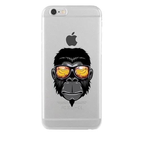 Remeto Samsung Galaxy E5 Cool Maymun Transparan Silikon Resimli Kılıf