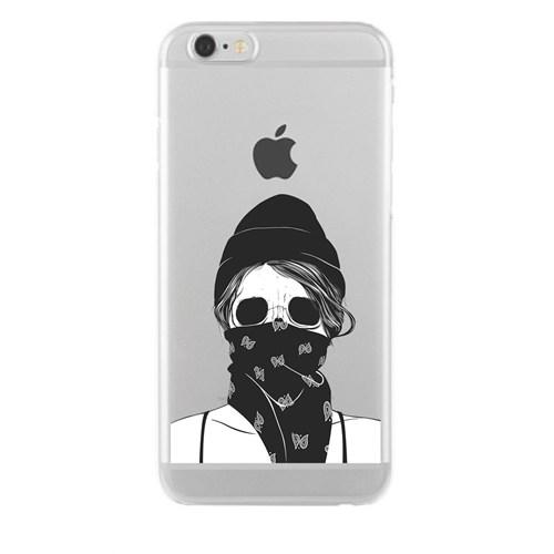 Remeto Samsung Galaxy E7 Transparan Silikon Resimli Maskeli Kız