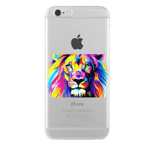Remeto Samsung Galaxy E7 Transparan Silikon Resimli Renkli Aslan Tasarımlı
