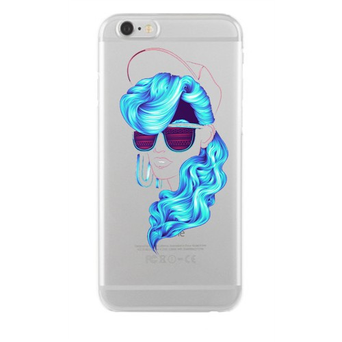 Remeto Samsung Galaxy Note 3 Neo Mavi Bukleli Model Transparan Silikon Resimli Kılıf