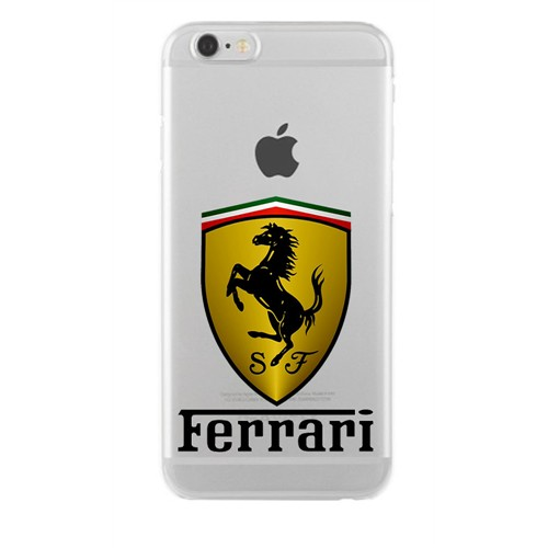 Remeto Samsung Galaxy S5 Mini Transparan Silikon Resimli Ferrari Logo