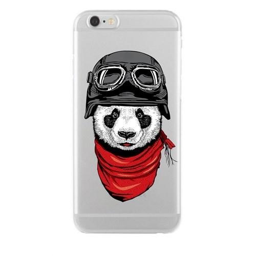 Remeto Samsung Galaxy A7 Transparan Silikon Resimli Motorcu Panda