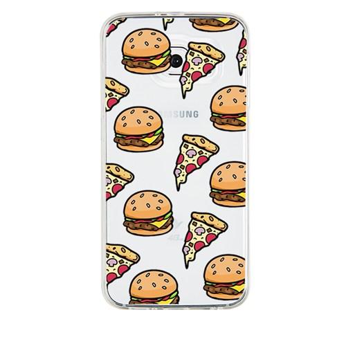 Remeto Samsung Galaxy A7 Transparan Silikon Resimli Hamburger Pizza