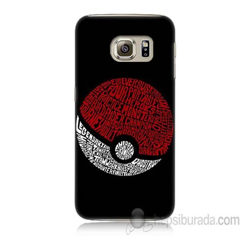 Teknomeg Samsung Galaxy S6 Kapak Kılıf Pokemon Pokeball Baskılı Silikon