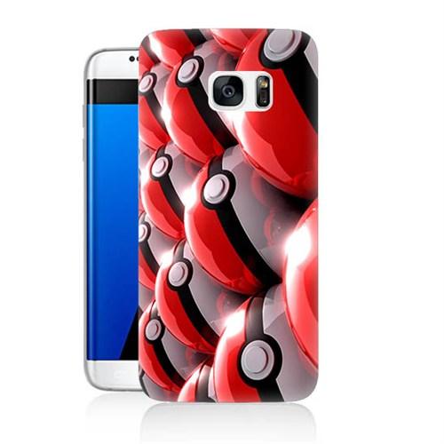 Teknomeg Samsung Galaxy S7 Kapak Kılıf Pokemon Pokeball Baskılı Silikon