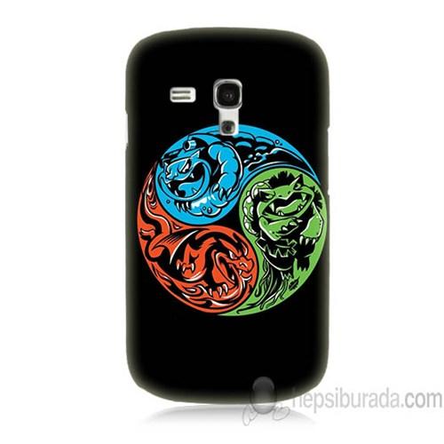 Teknomeg Samsung Galaxy S3 Mini Kapak Kılıf Pokemon Ateş Su Toprak Baskılı Silikon