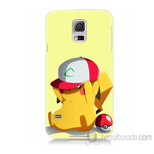 Teknomeg Samsung Galaxy S5 Mini Kapak Kılıf Pokemon Pikachu Baskılı Silikon