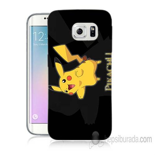 Teknomeg Samsung Galaxy S6 Edge Kapak Kılıf Pokemon Pikachu Baskılı Silikon