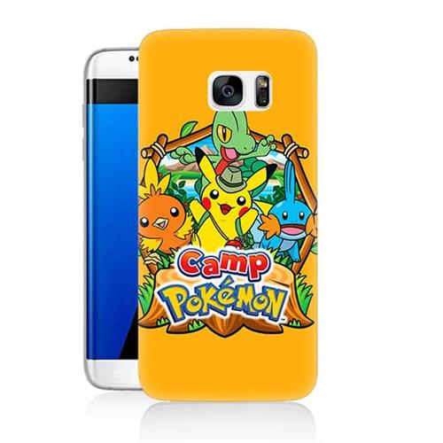 Teknomeg Samsung Galaxy S7 Edge Kapak Kılıf Pokemon Camp Baskılı Silikon