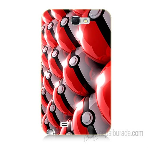 Teknomeg Samsung Galaxy Note 2 Kapak Kılıf Pokemon Pokeball Baskılı Silikon