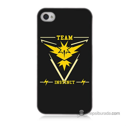 Teknomeg İphone 4S Kapak Kılıf Pokemon Team Instinct Baskılı Silikon