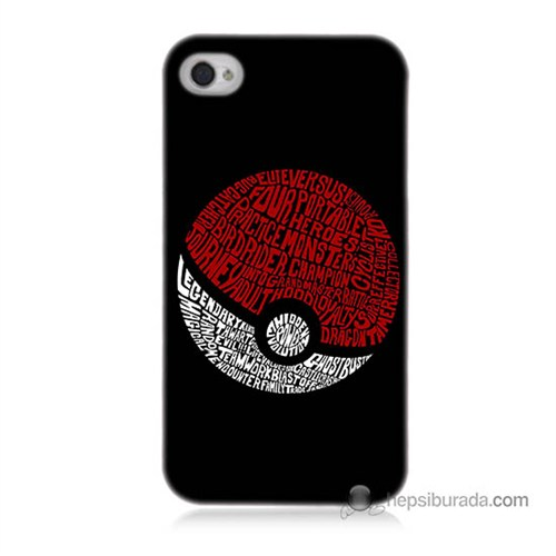 Teknomeg İphone 4S Kapak Kılıf Pokemon Pokeball Baskılı Silikon