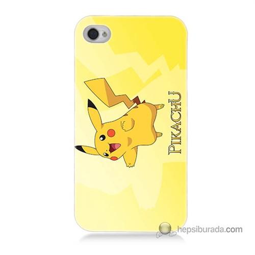 Teknomeg İphone 4S Kapak Kılıf Pokemon Pikachu Baskılı Silikon