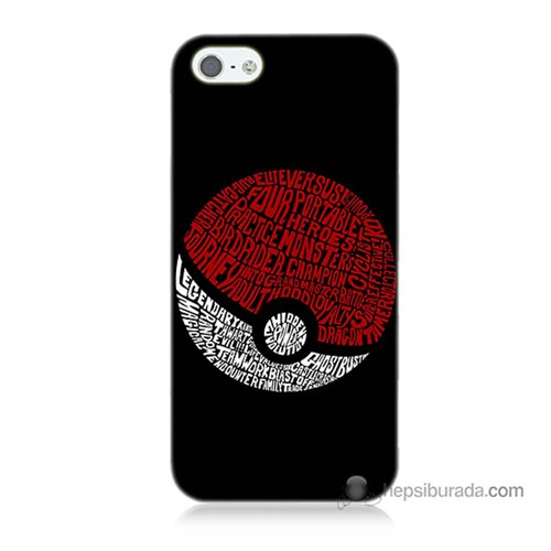 Teknomeg İphone 5S Kapak Kılıf Pokemon Pokeball Baskılı Silikon