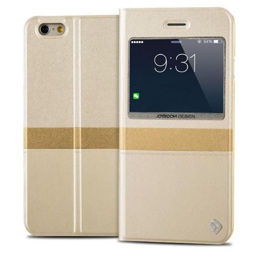 Joyroom iPhone 6 Plus-6S Plus Tiffany Pencereli İnce Kapaklı Gold Deri Kılıf