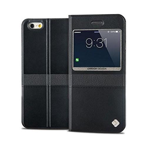 Joyroom iPhone 6 Plus-6S Plus Tiffany Pencereli İnce Kapaklı Siyah Deri Kılıf