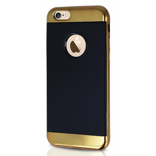 Joyroom Blade Series iPhone 6-6S Metalik Kenarlı Gold Silikon Kılıf