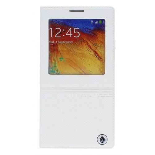 Joyroom Samsung N9000 Galaxy Note 3 Style Uyku Modlu Pencereli Beyaz Deri Kılıf