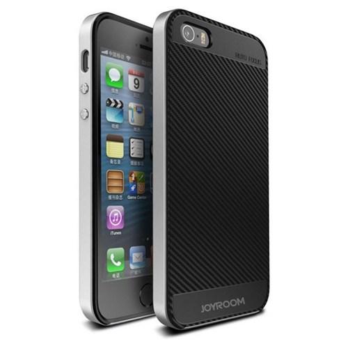 Joyroom iPhone Se 5-5S Silver Kenarlı Karbon Silikon Kılıf