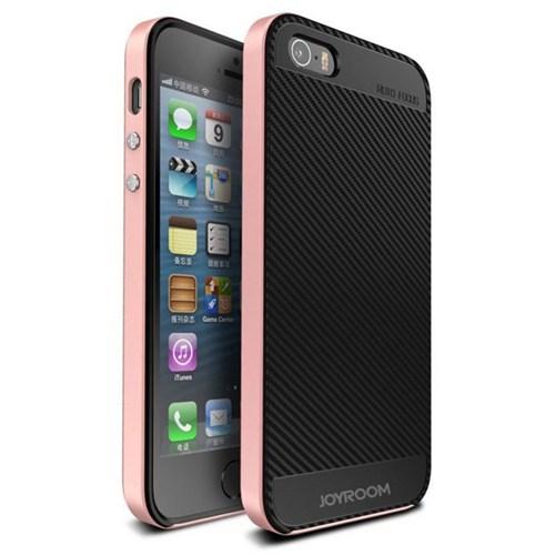 Joyroom iPhone Se 5-5S Rose Gold Kenarlı Karbon Silikon Kılıf