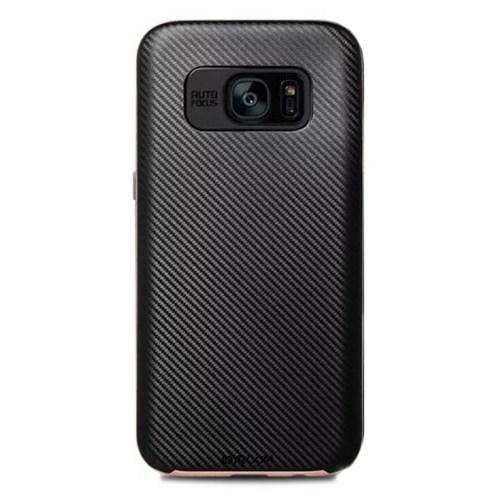 Joyroom Samsung Galaxy S7 Edge Gold Kenarlı Karbon Silikon Kılıf