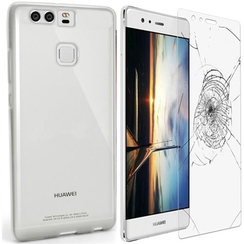 Kılıfshop Huawei P9 0.2Mm Silikon Kılıf (Şeffaf) + Kırılmaz Cam Ekran Koruyucu