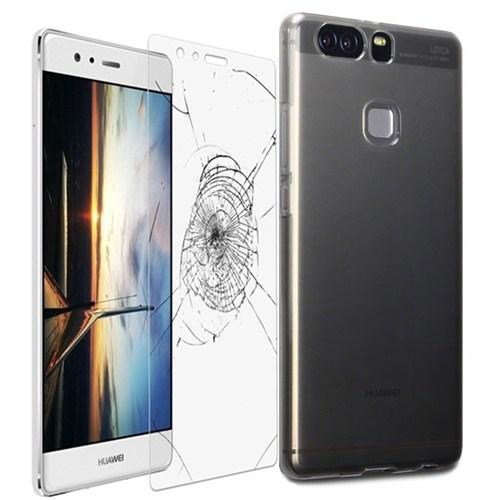 Kılıfshop Huawei P9 0.2Mm Silikon Kılıf (Füme) + Kırılmaz Cam Ekran Koruyucu
